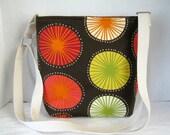 Cross Body Purse Sunburst - Hip Bag Brown Orange Pink - Sling Bag - Adjustable Long Strap - Starburst Hipster