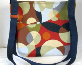 Kaleidoscope Cross Body Purse -  Rust Navy Grey Sling Bag - Circles Hip Bag - Adjustable Long Strap - Modern Hipster Bag