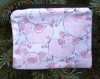 Pigs coin purse, tee and ball marker pouch, gift card pouch, optional d-ring, Happy Piggies, Raven