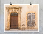 French Provence Photography- brown wood door window metal chair shutters old house shabby chic print wall art home decor 10x8 11x14 20x16