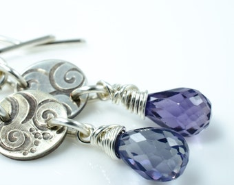 Blue Purple Quartz Silver Swirl Earrings