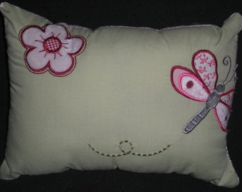 Green Dragonfly Dragonflies flower pillow M2M Kidsline Lady Bug girl Nursery Bedding Pink Gingham velour