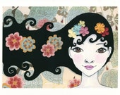 Kimberly - A4 size archival print . Girl with flowers in her hair . Mixed media art print from norwegian artist Annette Mangseth
