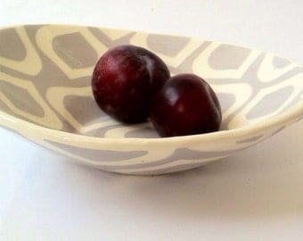 Pearl grey oval serving handmade ceramic serving dish