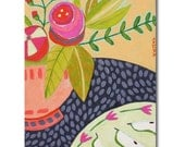 ORIGINAL still life floral painting PEARS on a plate folk art acrylic painting by TASCHA 10x8