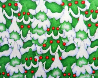 One Yard Cut Quilt Fabric, Cute Christmas Snow Covered Trees With Red Ornaments from SSI Fabrics, Sewing, Quilting & Craft Supplies