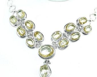 Sale: Lemon Citrine and Sterling Silver Necklace