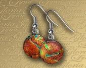 Dichroic Fused Glass Earrings - Fun In The Sun - ER458