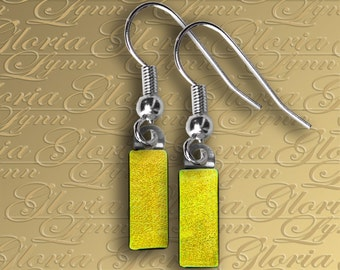 Fused Dichroic Glass Drop Earrings - Yellow Itty Bitty - ER357