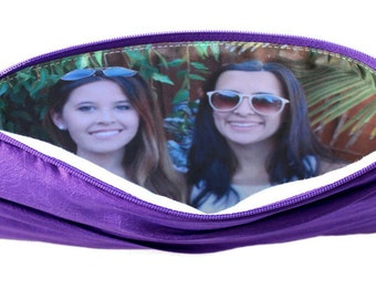 Pleated Clutch With Custom Photo.  Personalized Picture Wristlet - Purple Gift Idea for Bride or Bridesmaid - See Additional Colors