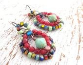 Bohemian Dangle Earrings. Multi Color Earrings.Woven Wire Earrings. Tribal Bliss. Gypsy Jewels