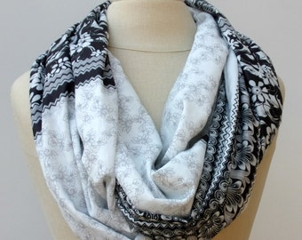 Cotton Infinity Loop block print scarf circle handmade from Indian dupatta black white Eternity Ethnic hippie Boho, summer scarf, Bohemian