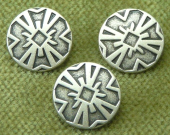 Antique Silver Tribal Shield Button   6013  B21