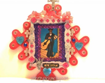 Upcycled Mexican Style//El Musico//Mexican Loteria//Day of the Dead//Dia de los Muertos//Musician Wall Art