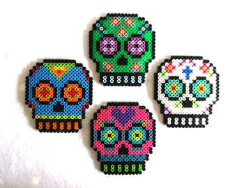 Sugar Skull Magnets Day of the Dead Decor Dia de los Muertos Calavera Perler Beads