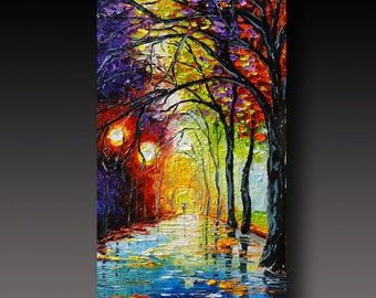 RESERVED Rainy Night Painting Original Oil Painting Enchanted Night Contemporary Fine Art Modern Palette Knife