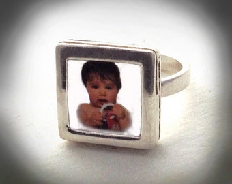 Sale Sterling Picture Frame Ring Sale by donnaodesigns
