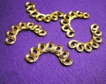 10pc gold finish fancy metal links-2238