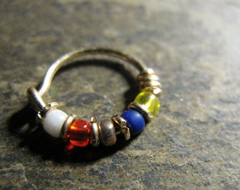 wonder woman hoop-- superhero nose ring or hoop earring-- handmade by thebeadedlily