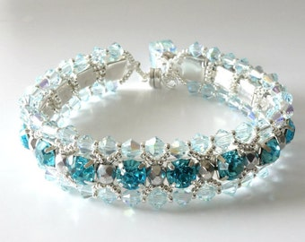 Crystal Rhinestone Bracelet, Aquamarine,Bridal, Wedding, Beaded Jewelry, Beaded Bracelet, Crystal Tennis Bracelet..Romancing the Stone