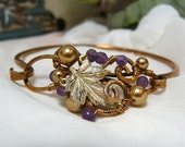 Golden Leaf and Frosted Amethyst Bronze Wire Wrapped Bangle Bracelet