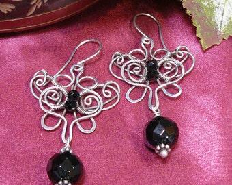 Wirewrapped Butterfly Earrings ~ Stylized Butterfly Earrings ~ Wire Butterfly Earrings ~ Silver Wire Wrapped Earrings ~ Wire Earrings
