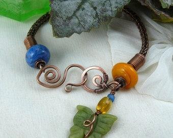 Viking Knit Bracelet ~ Woven Copper Bracelet ~ Wire Wrapped Bracelet ~ Butterfly Bracelet~ Jade Butterfly Bracelet ~ Woven Wire Bracelet