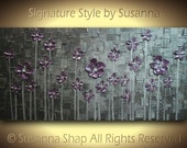 ORIGINAL Contemporary Art Flowers Landscape Modern Palette Knife Thick Impasto Texture Pewter Silver Dusty Purple Painting  by Susanna 48x24