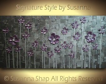 Flowers Painting ORIGINAL Contemporary Art Landscape Modern Palette Knife Thick Impasto Texture Pewter Silver Dusty Purple by Susanna 48x24