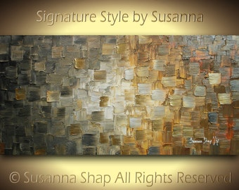 Original Large Abstract Rustic Art on Canvas Textured Urban Earthy Grey Beige Rust Modern Palette Knife Painting 48x24 by Susanna Made2Order