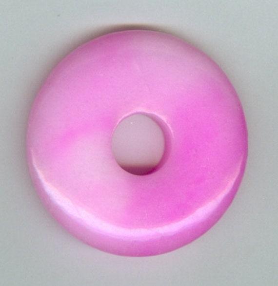 45mm pink jade donut pendant 219t