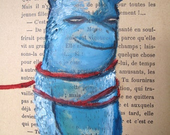 SALE Blue Beast Oil painting on French book page Original