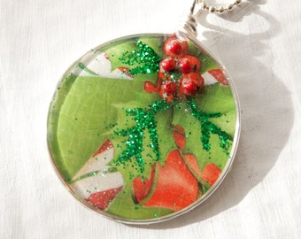 Christmas Holly Necklace, Candy Cane Jewelry, Recycled Paper Necklace