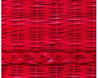 FAT QUARTER - Photo Realistic Dark Pink Basket Weave with Braid, Oxford Cotton - Cosmo Textiles, Japanese Import