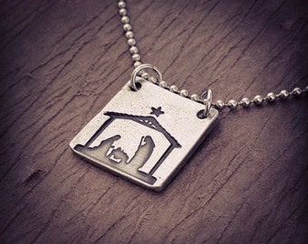 Nativity hand stamped pewter necklace