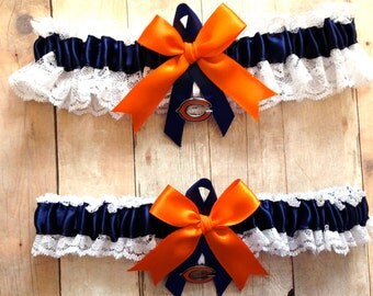 Chicago Bears Wedding Garter Set    Lace  Handmade with charms    keepsake and toss NONG