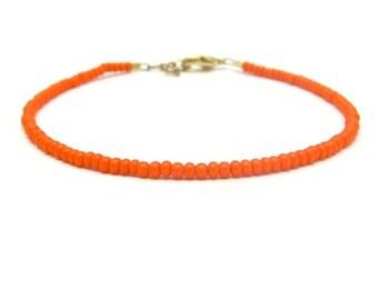 Orange bracelet, Seed bead bracelet, beaded bracelet, Neon Orange bracelet, friendship bracelet, Orange Friendship Bracelet, Dainty Bracelet