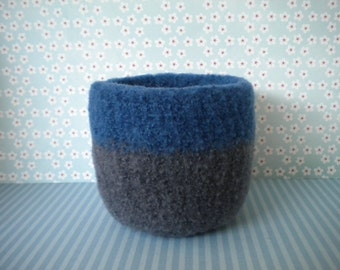 Blue and Gray  Felted Whatnot/Ring Bowl, Wool,  Handmade, Fulled