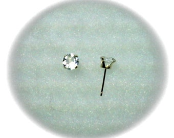 5mm Goshenite Gemstones in 14k Yellow Gold Stud Earrings