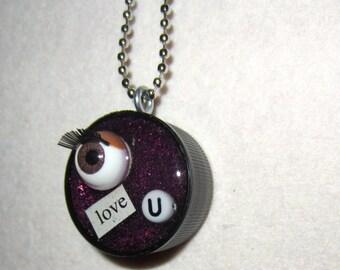 Eye Love U - upcycled Plastic Bottle Cap necklace