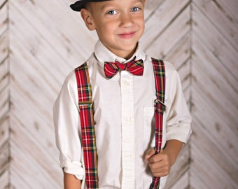Boy's Christmas Outfit - Boy's Bow Tie and Suspender Set - Red Plaid - Royal Steward Tartan Tie