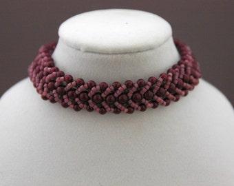 Red Wine Swarovski Pearls and Berry Delica Flat Spiral Bracelet