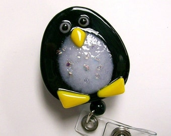 Retractable badge holder Fused Glass Penguin