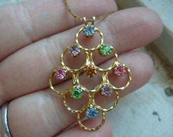 FREE SHIPPING Vintage Monet Multi Colored Rhinstone Pendant Necklace