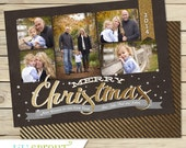 Black and Gold Holiday Christmas Photo Card - Collage Style Christmas Card- Printable Holiday Card- DIY Print Your Own