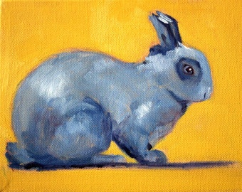 Bunny Rabbit Portrait Oil Painting, Small Animal, 6x8 Canvas, Child Nursery Blue Wall Decor, Gold Original, Furry Wildlife Creature