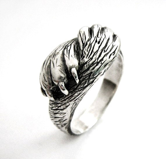 Paw To Paw Silver Cat Ring Cat Lover Wedding By