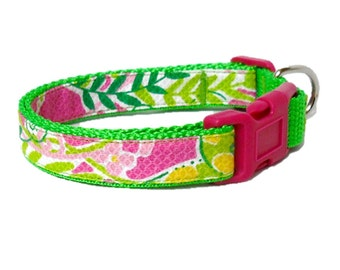 Dog Collar Made from Lilly Pulitzer Millionaires Row Fabric on Green Size: Your Choice