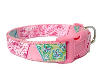 Dog Collar Made from Lilly Pulitzer Shifts Fabric Size: Your Choice