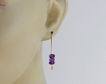 Amethyst Earrings, Gold Earrings, Stacked Bead Purple Earrings, Dangle Hook Earrings